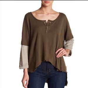 Free People Green Henley Star Layered Long Sleeve